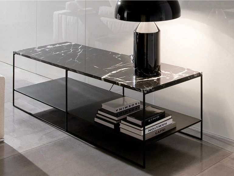Hoch Rechteckiger Couchtisch Aus Marmor Serie Calder By Minotti