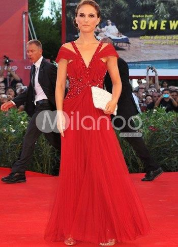 Red V-Neck Floor Length Chiffon Venice Film Festival Dresses. See More Venice Film Festival Dresses at http://www.ourgreatshop.com/Venice-Film-Festival-Dresses-C907.aspx
