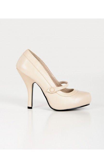 Pinup Girl Clothing- Cutiepie Mary Jane Heels in Matte Beige | Pinup Girl Clothing