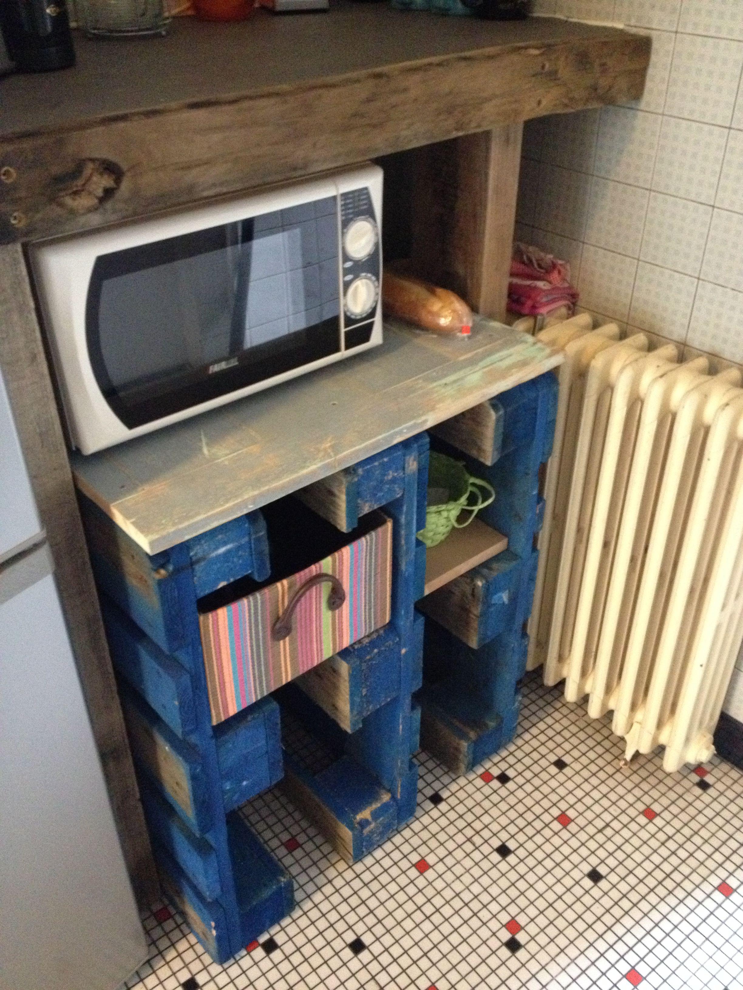 Petit meuble d 39 appoint palette bois et vieux volet weup - Petit meuble d appoint salon ...