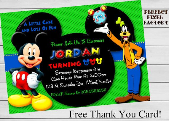 MICKEY MOUSE InvitationMickey Mouse by PerfectPixelFactory on Etsy