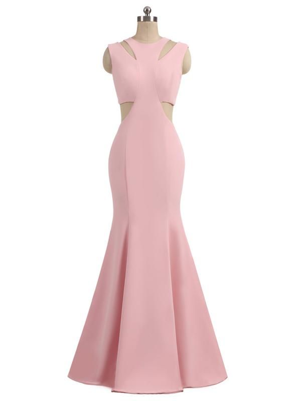 Halter Pink Jersey Mermaid Long Prom Dresses,Simple Formal Dresses ...