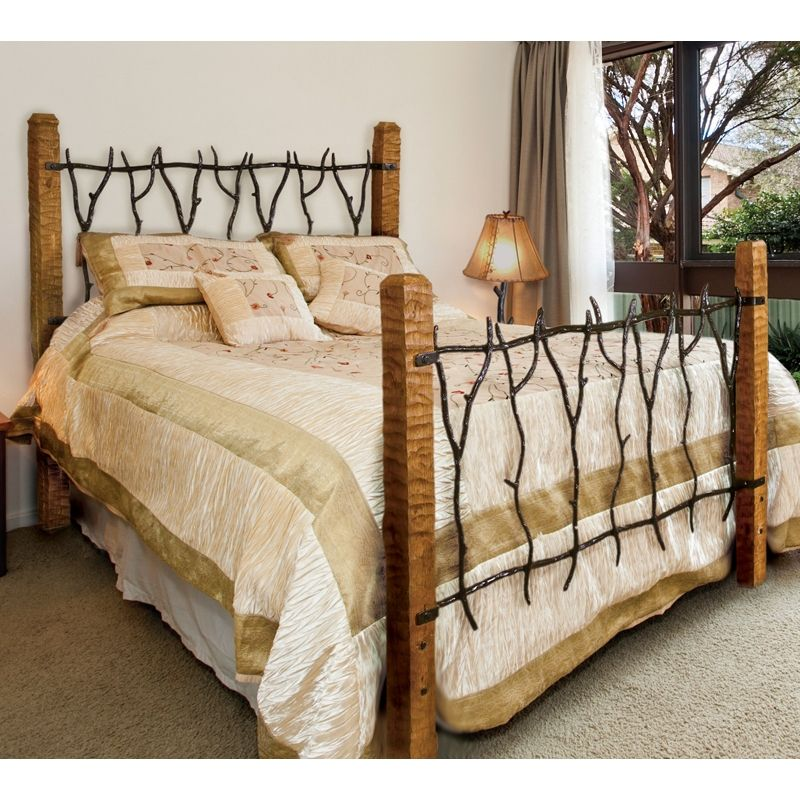 Rustic South Fork Wrought Iron And Wood Bed Queen Or King Wrought Iron Beds Iron Headboard Iron Bed