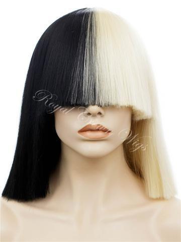 Half Black   Half White SIA wig - Non Lace  4c63d981f4e0