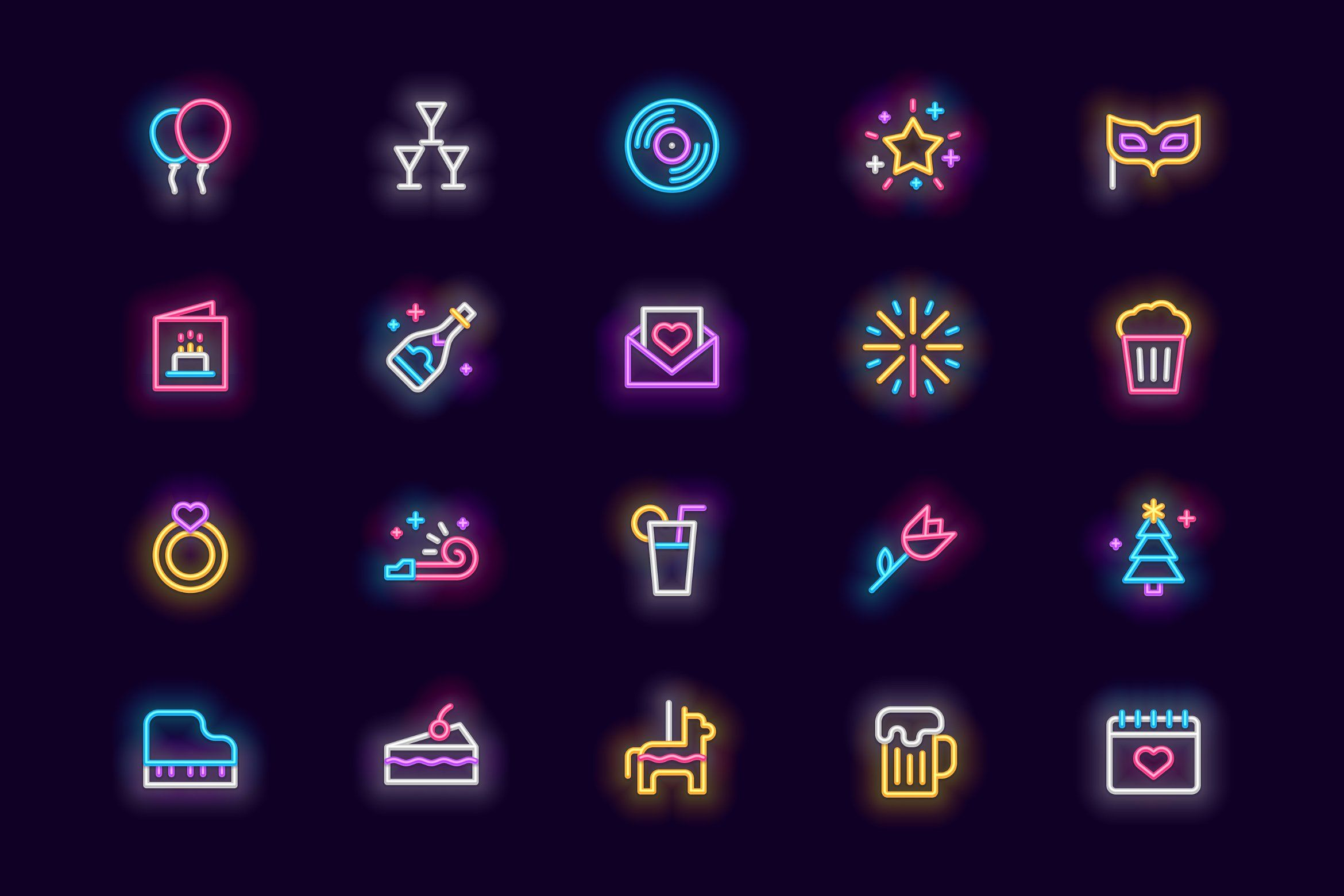 Party Neon Icons in 2020 Icon, Education icon, Neon