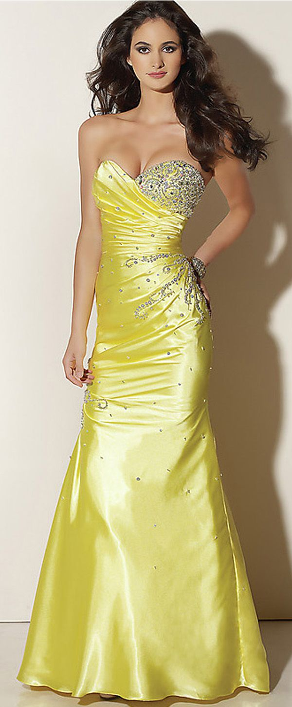 Gorgeous charmeuse princess long strapless lace up yellow gown with