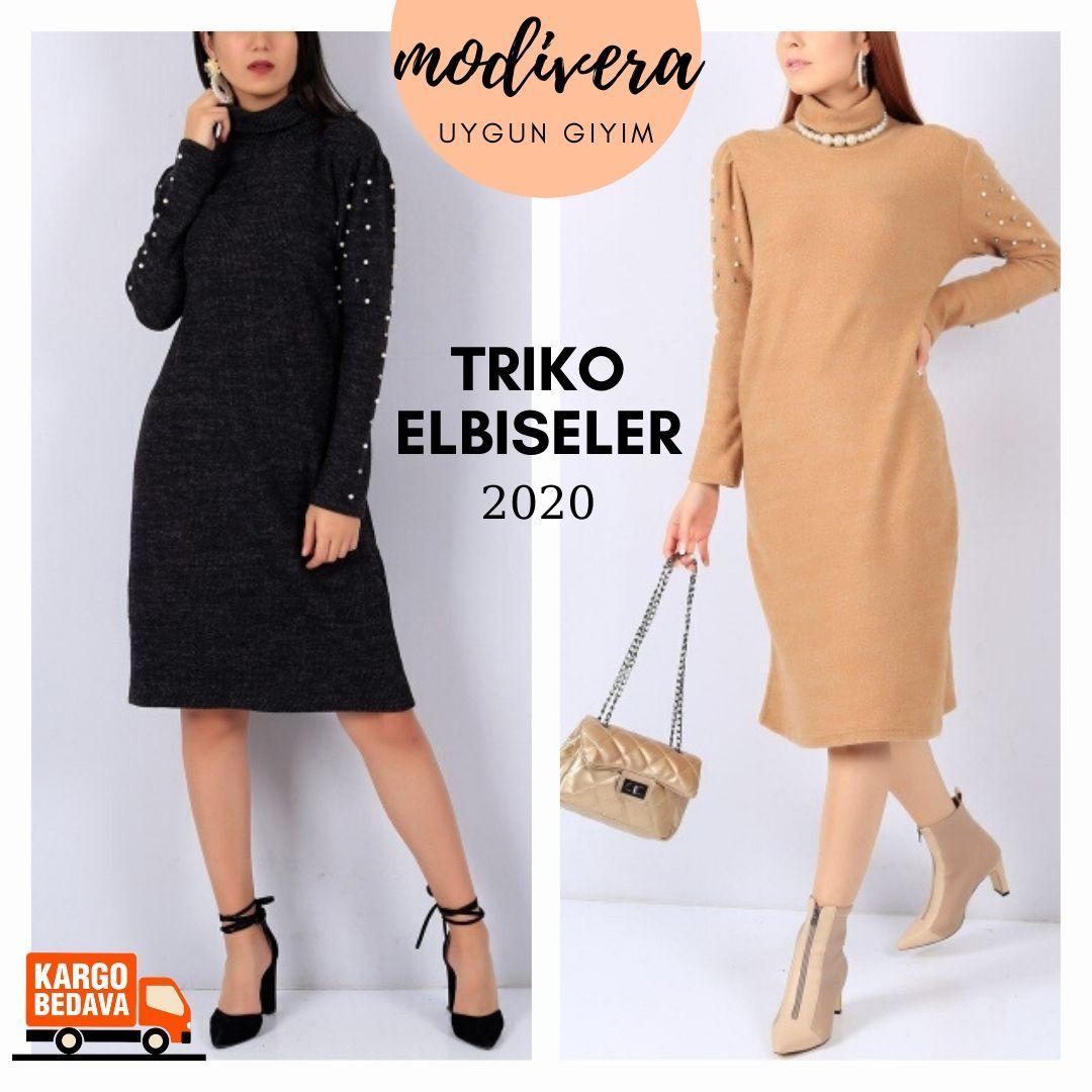 Triko Elbise Modelleri Triko Elbise Kombinleri 2020 Model Kislik Elbise Modelleri Kapida Odeme Ile Uygun Fiyata Al Www Modivera Com Kargo 2020 Triko Elbise Giyim