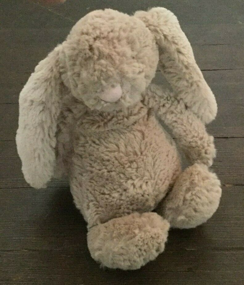 Jellycat Bashful Bunny Plush 8 Inch Stuffed Toy Beige Brown Pink Nose #Jellycat #bunnyplush