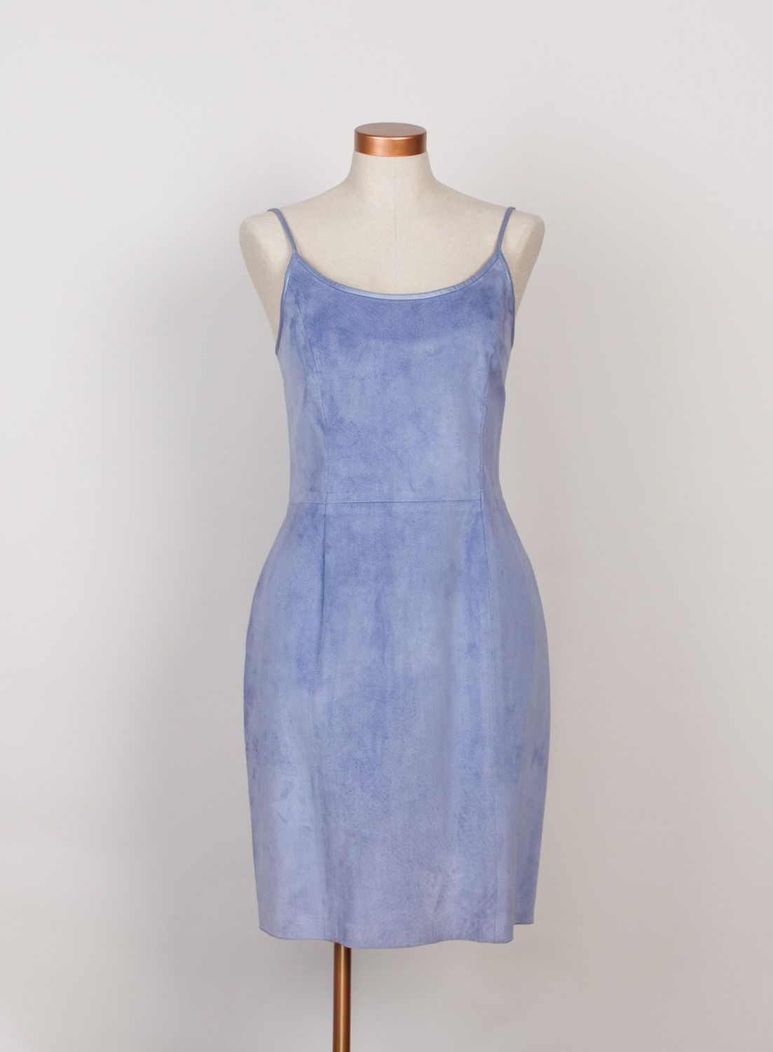 1990s vintage lavender blue suede dress by Danier