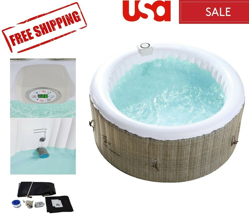 4 Person Inflatable Hot Tub Outdoor Jets Portable Heated Bubble