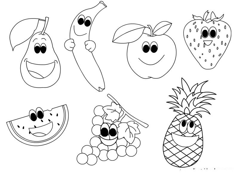 Cartoon Fruits Coloring Page2 Nş Fruit Coloring Pages