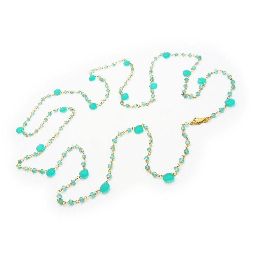 """Fronay Co, Apatite & Chalcedony by the Yard Necklace, 42"""""""