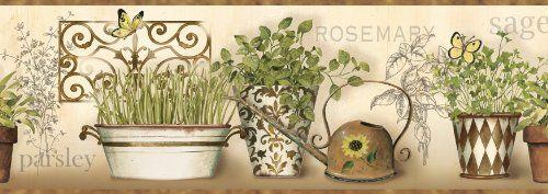 CKB77933B Kitchen Wallpaper Border / Modern Herbs Wall Border / Brown Trim  Warner Http:/