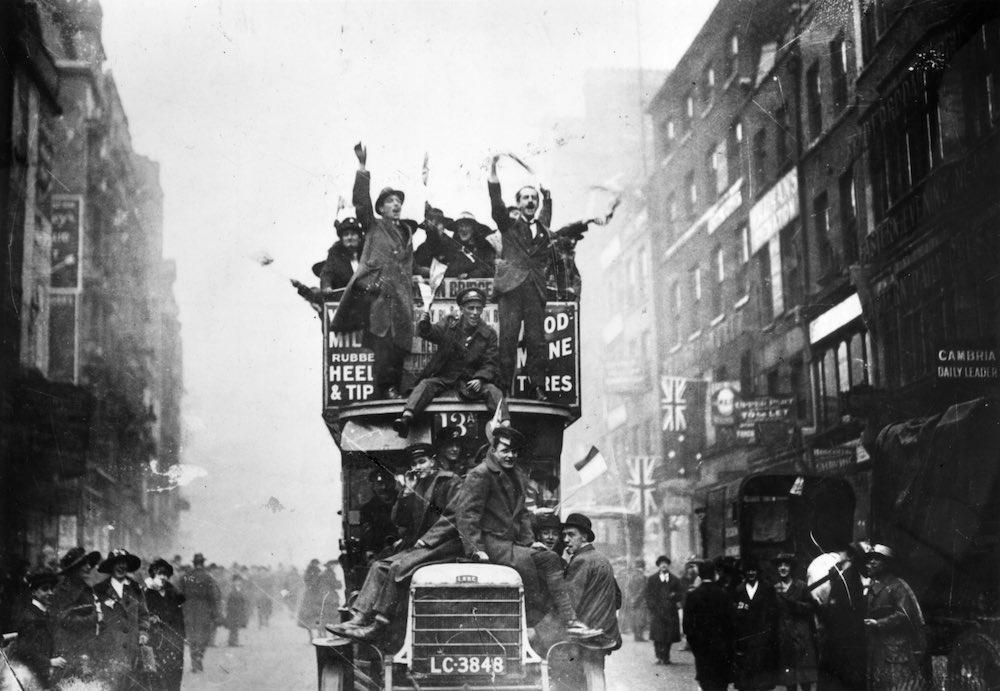 The 11th hour of the 11th day of the 11th month, 1918 - how people celebrated the end of WWI.
