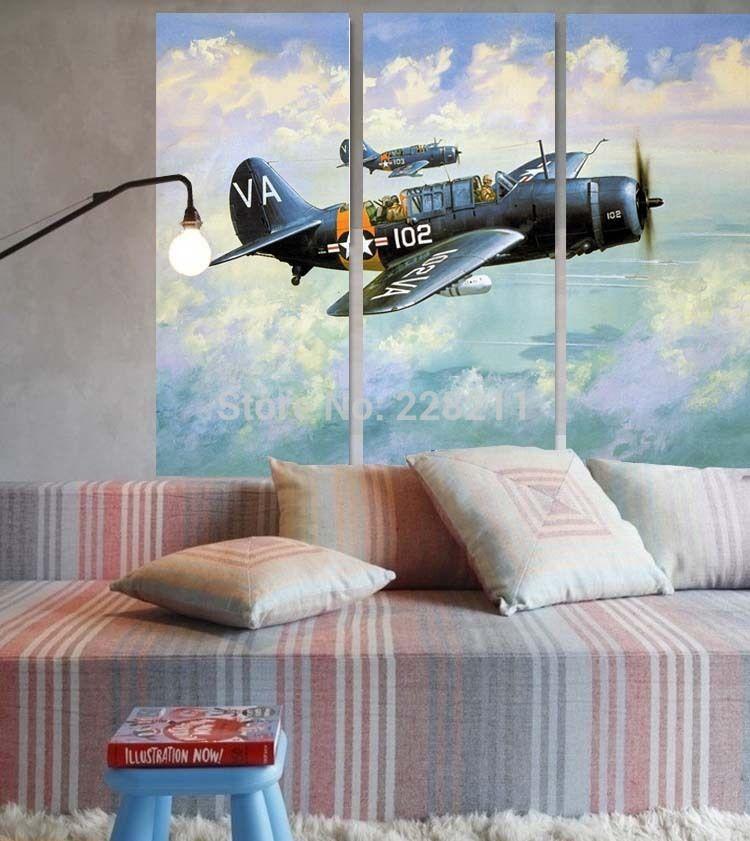 Pas cher livraison gratuite 30x70cmx3 avion de chasse for Acheter decoration maison