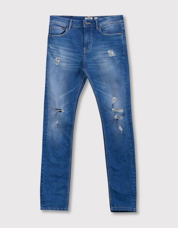 9447ee23a1d Pull Bear - hombre - ropa - jeans - jeans skinny fit big lavado medio -  azul - 05683544-I2016