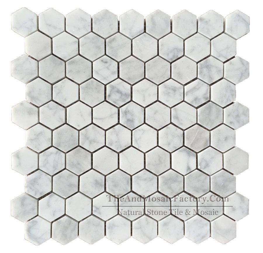 The Bianco Carrara Hexagon Mosaic Work Including 9 Pieces On Each Row And 10 Pieces On Each Column Every Single Bianco Carrara Hexagonal Mosaic Marble Mosaic