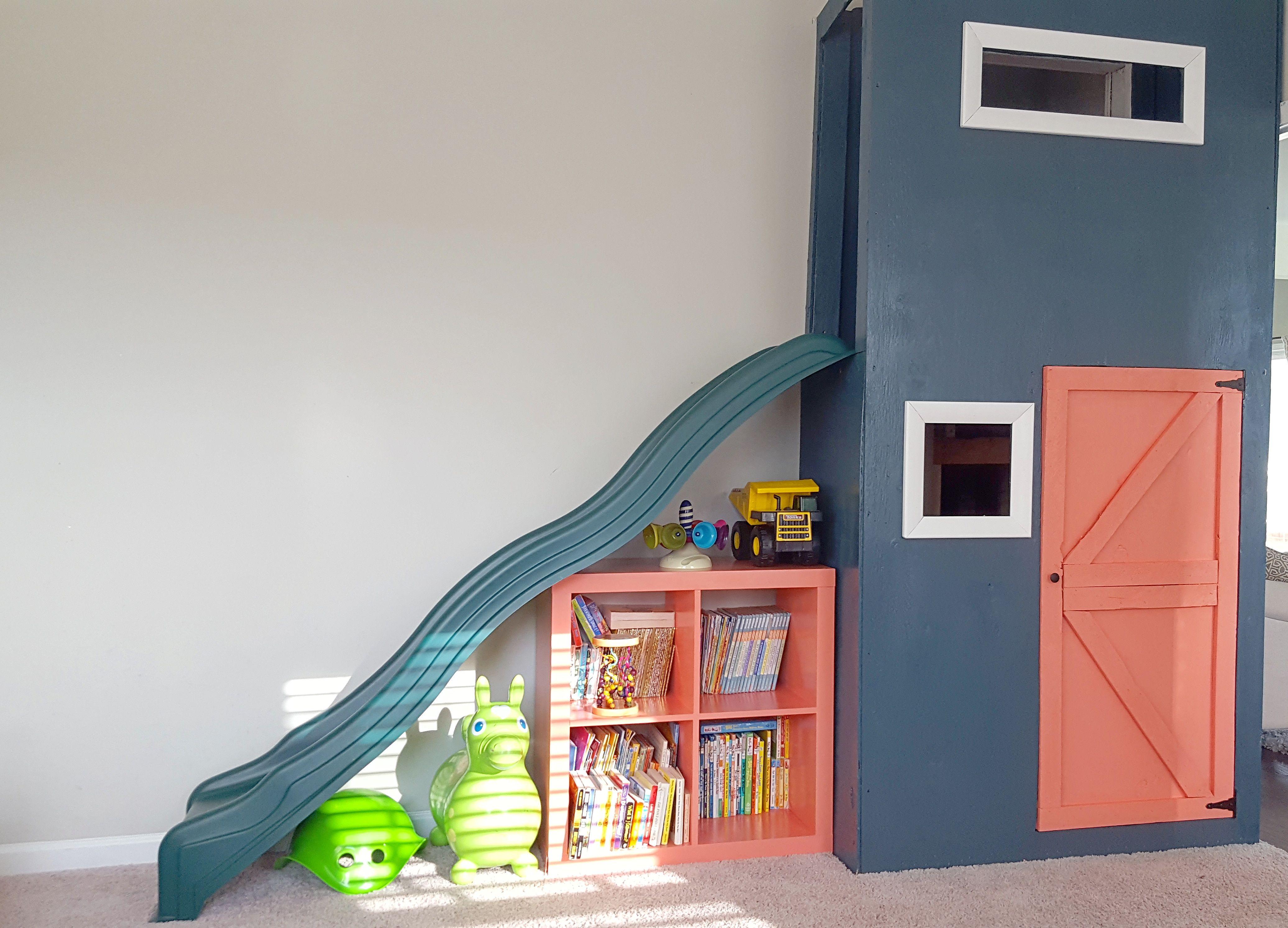 Playroom Slide / Playhouse Indoor Slide, Under Stairs Clubhouse