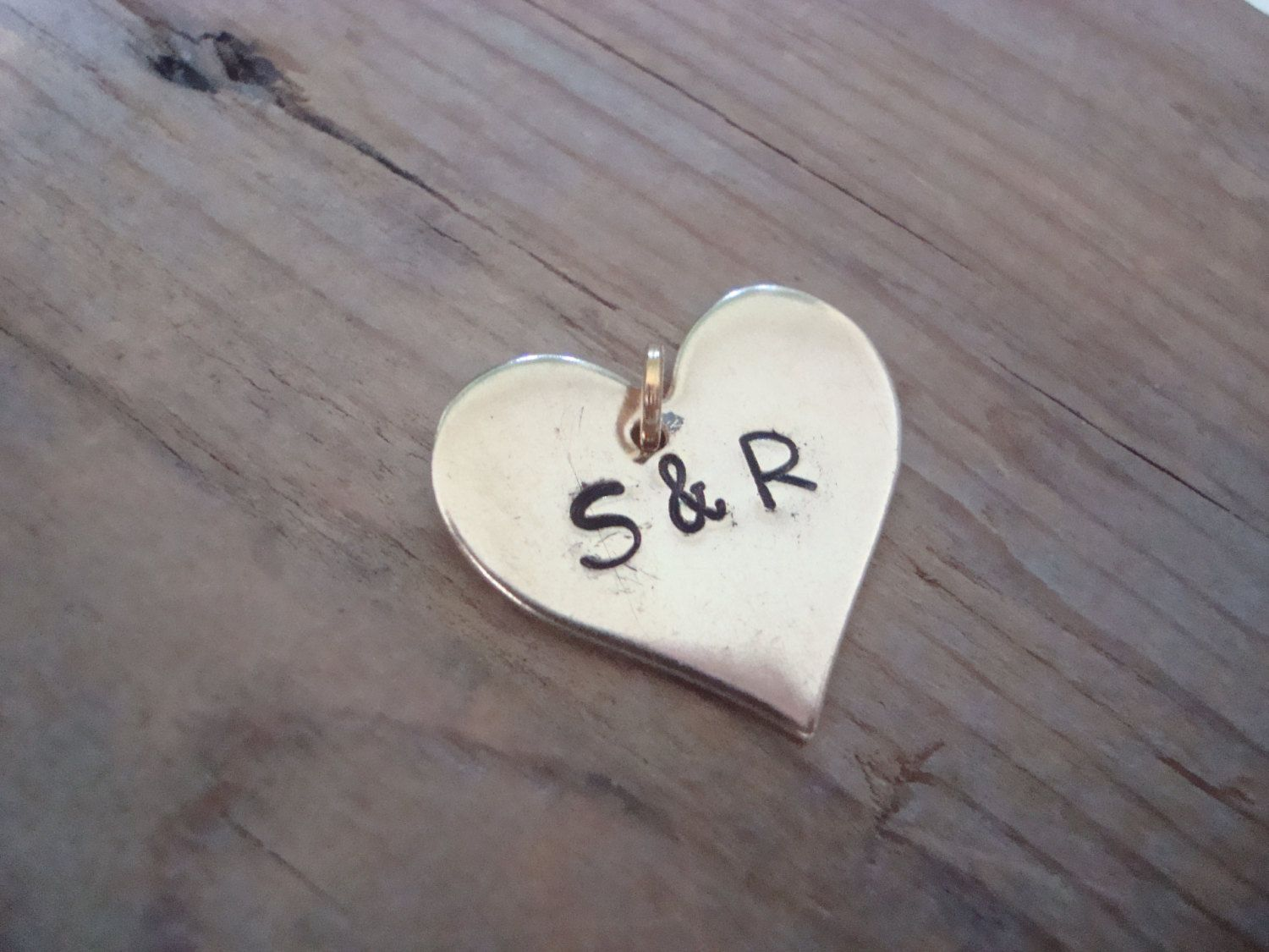 Large Add On Personalized Monogram Heart Charm - Brass, Gold Heart Charm, Custom Initial Heart, Valentines Day. Mothers Day, Birthstone by FuchsiaBloomStudio on Etsy