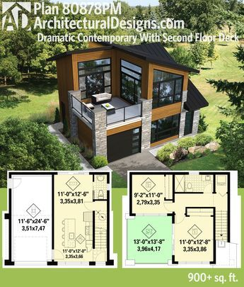 Plan 80878pm Dramatic Contemporary With Second Floor Deck Small Modern House Plans Contemporary House Plans Sims House Plans