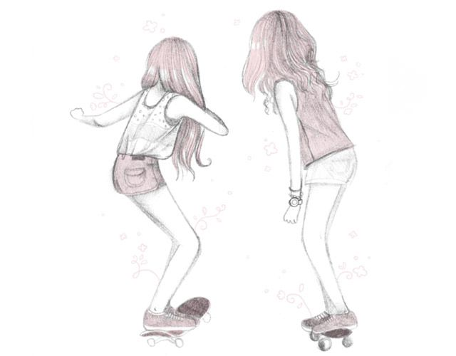 Ilustracoes Skate Meninas Malipi Drawings Of Friends Best