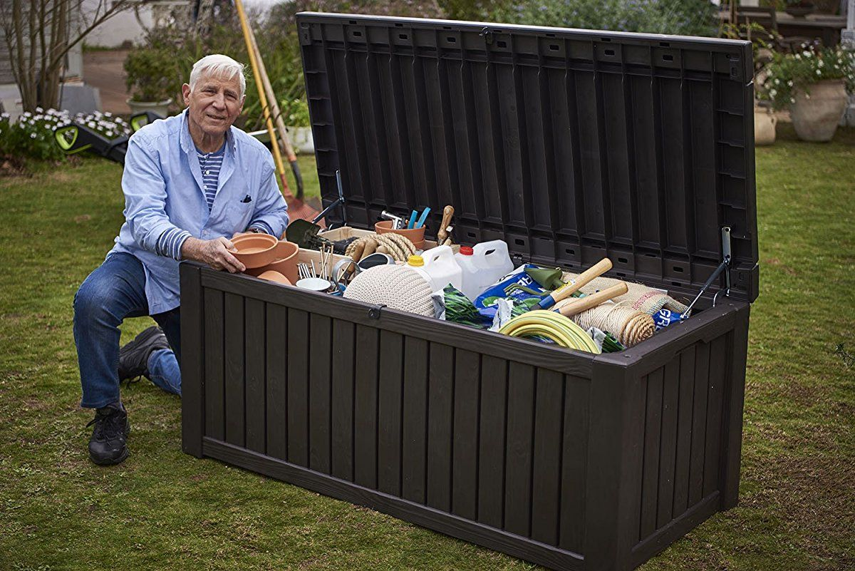 Keter Rockwood Plastic Deck Storage Container Box Outdoor Patio
