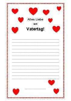 Arbeitsblatt: Brief schreiben: Vatertag | Kostenlose Arbeitsblätter ...