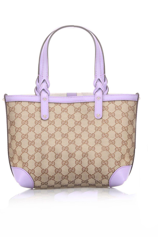 da183fd3f85 Gucci Ladies' Small Monogram Tote In Beige & Lilac Trim   Bags and ...