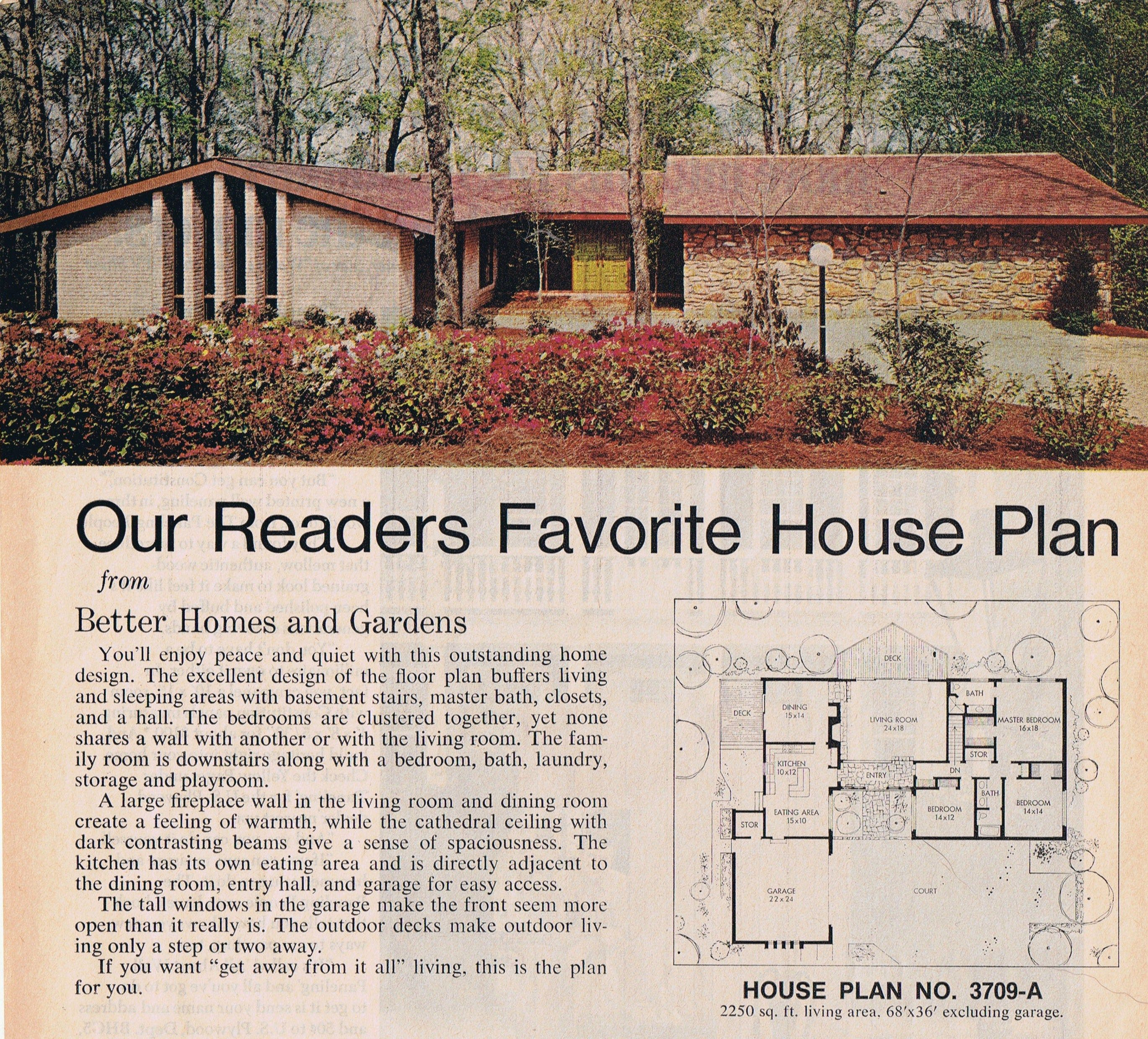 70 S Ranch House Bh G 1974 Better Homes And Gardens House Plans Mid Century Modern House Plans