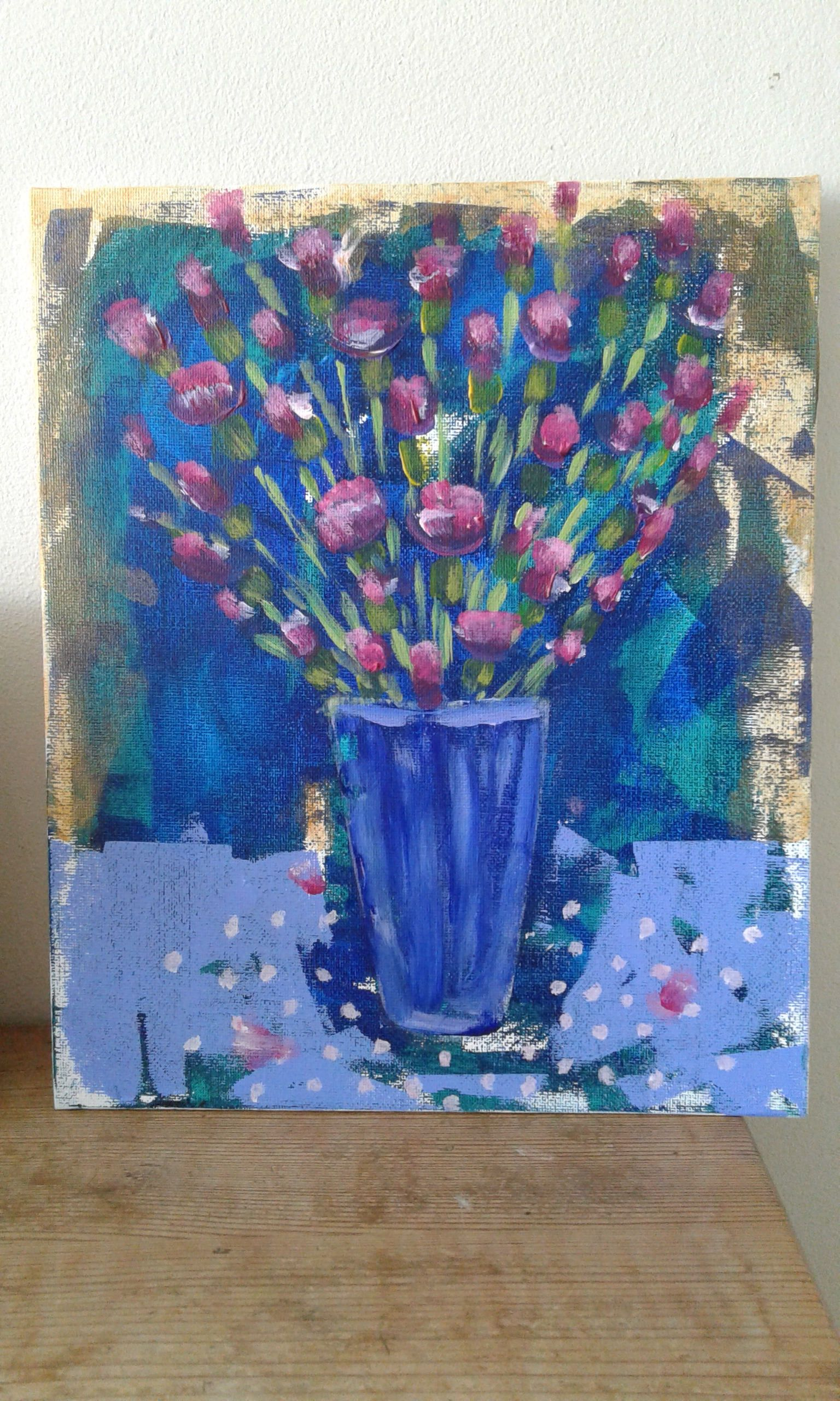 Flower Painting Blue Green Acrylic On Canvas Board Pinks Pretty
