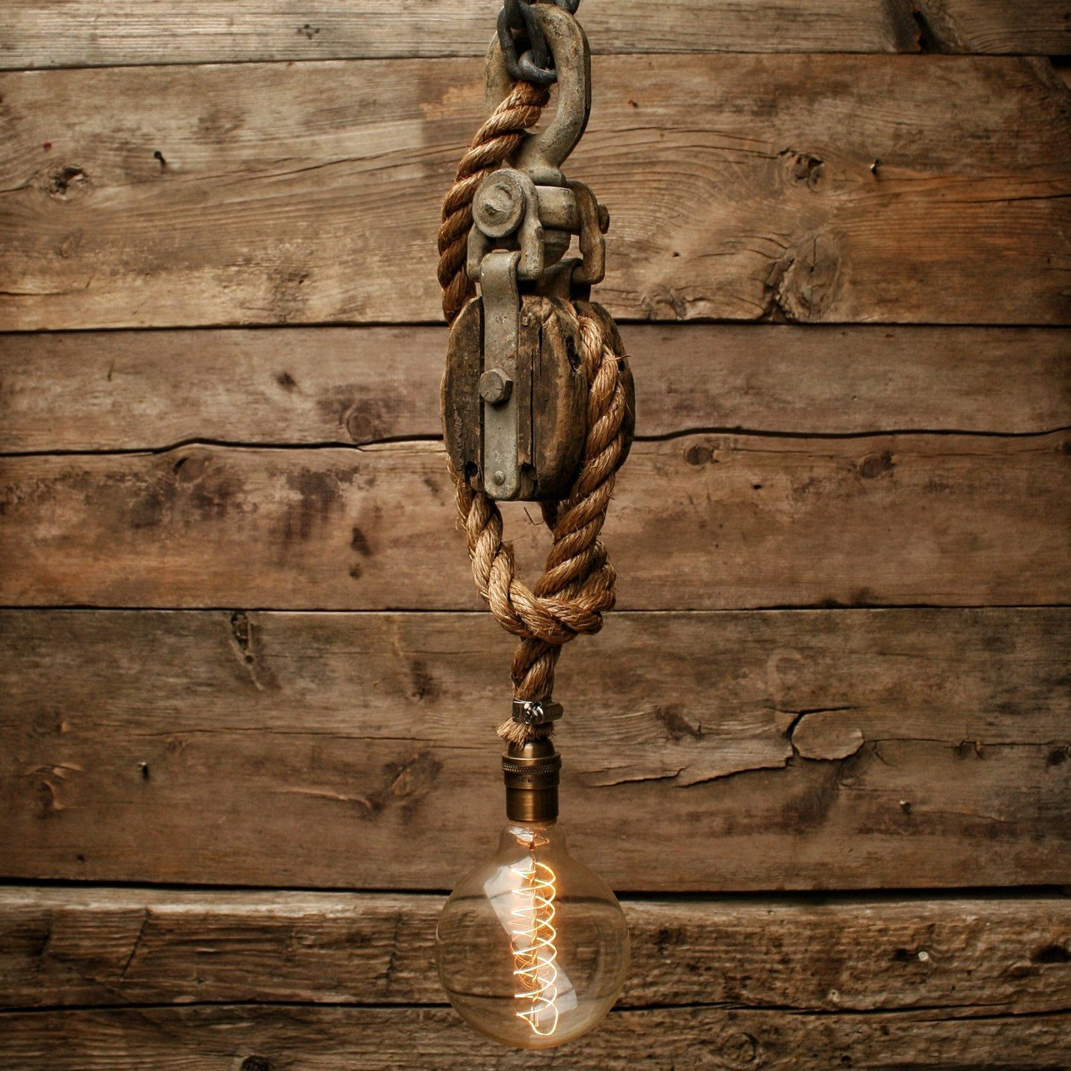 Rustic Light Industrial Chandelier Rope Pulley By: Rustic Pulley Pendant Light