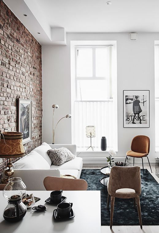 Exposed Brick Simple White With Tall Windows Brick Living Room Apartment Interior Brick Wall Living Room
