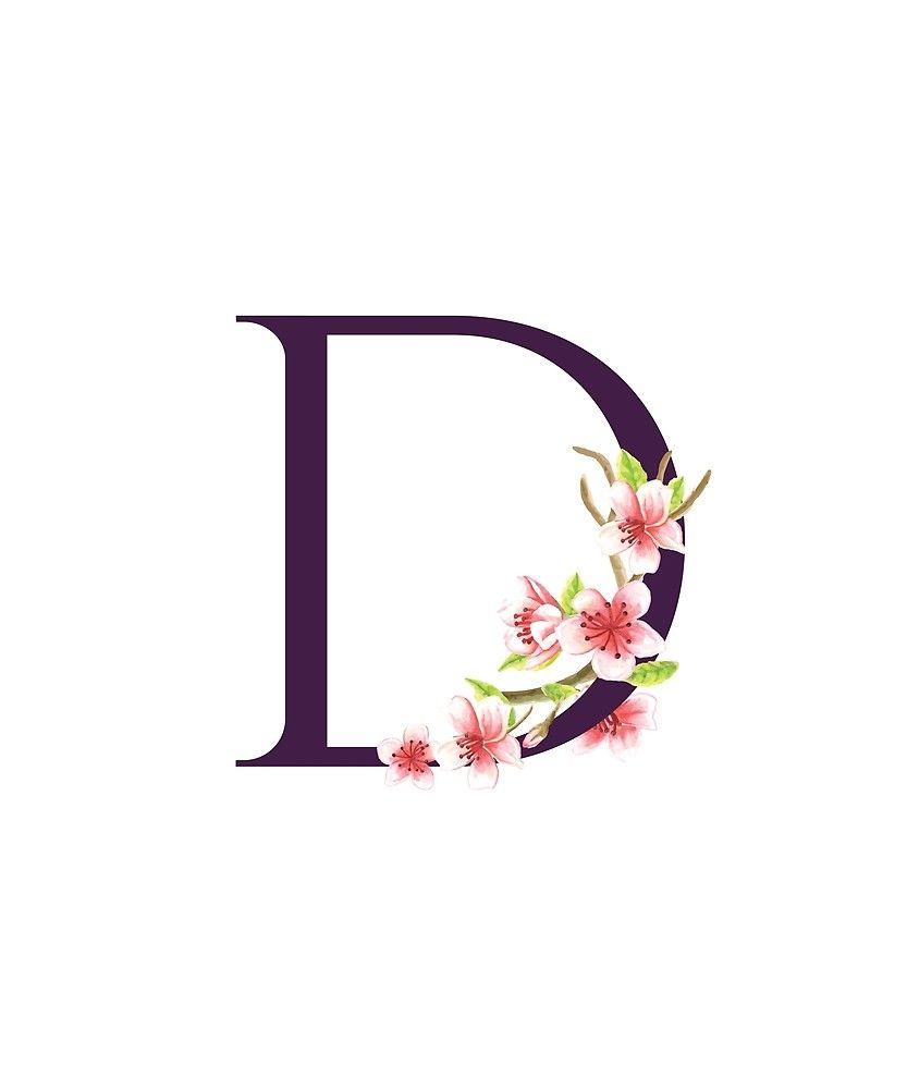 Monogram D Pretty Pink Cherry Blossoms Sticker By Floralmonogram In 2021 Monogram Wallpaper Pretty Letters Watercolor Lettering