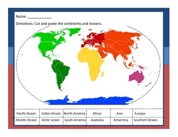 Cut And Paste Continents And Oceans Worksheets Students And - All 5 oceans