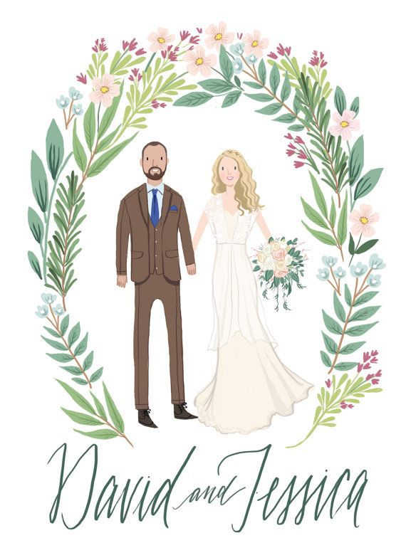 Custom Illustrated Couple Portrait Wedding by kathrynselbert ...