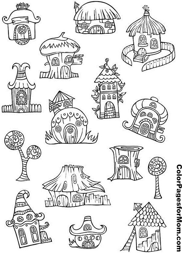 House Drawing Color: Pixie Houses Coloring Page