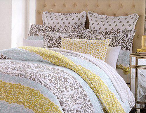 Amazon Com Cynthia Rowley King Or Queen Duvet Cover Set Large Moroccan Ornate Medallion Mustard Yellow Duvet Cover Sets Queen Duvet Covers Home Decor Bedding