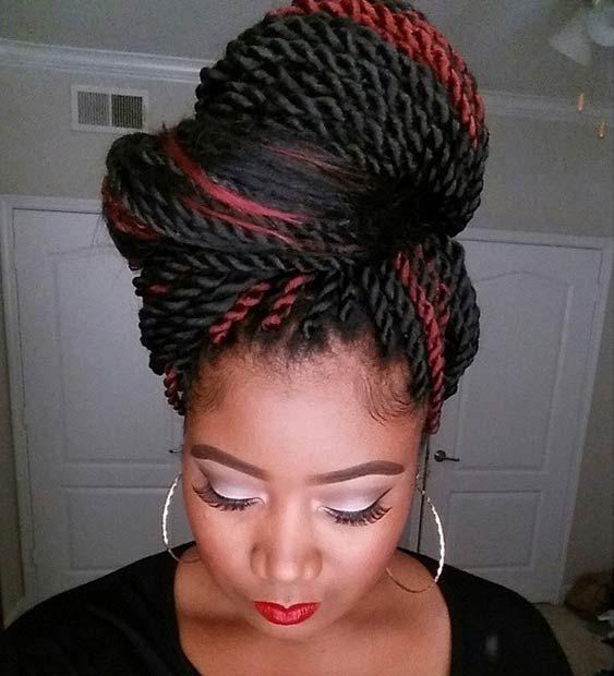 19 Fabulous Kinky Twists Hairstyles | Twist bun, Twist hairstyles ...
