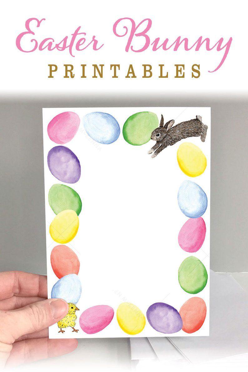 Printable Easter Card Bunny Easter Eggs 5 X 7 Etsy Easter Invitations Printable Easter Invitations Easter Bunny Printables