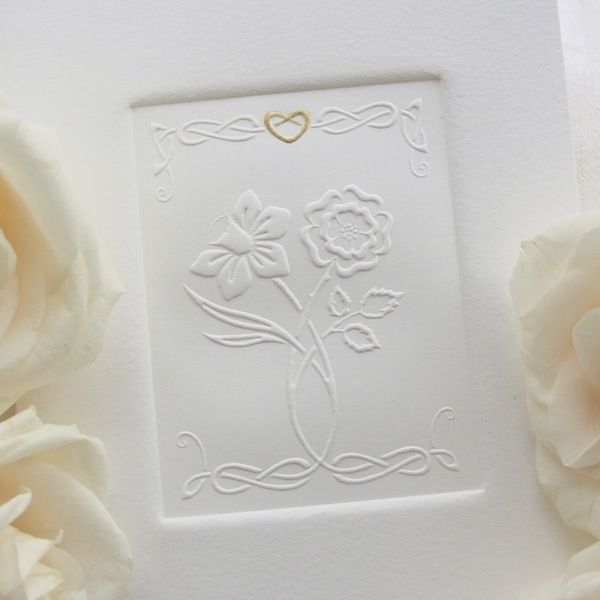Daffodil  Rose Embossed Wedding Invitation  Celtic Nations