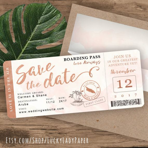 Rose Gold Watercolor Destination Wedding Boarding Pass Save The Date by Luckyladypaper – Customized PDF file for DIY Print