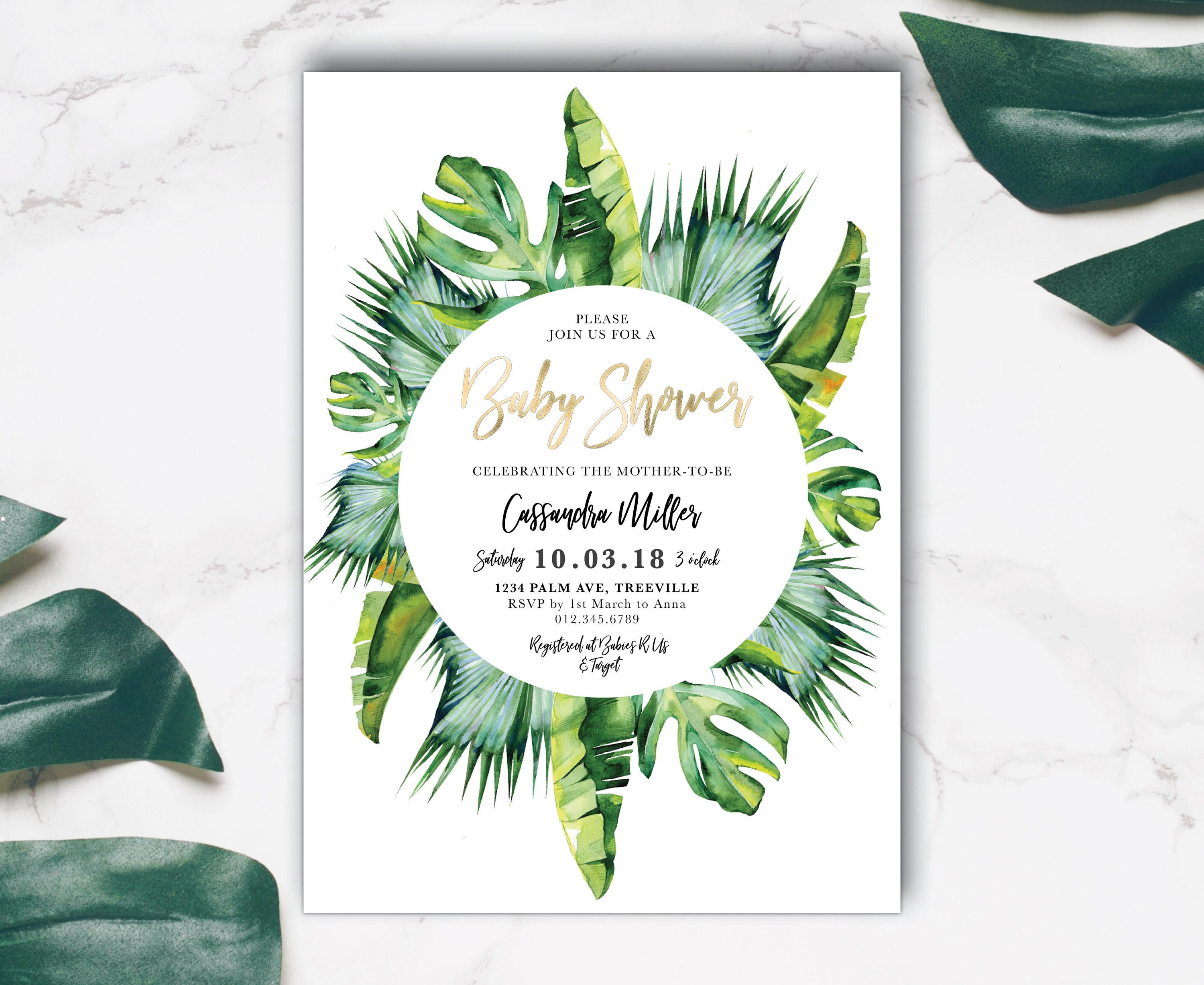 Tropical Baby Shower Invitation