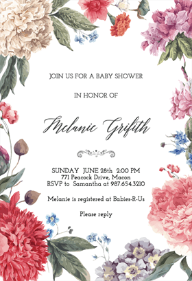 garden glory free printable baby shower invitation template greetings island