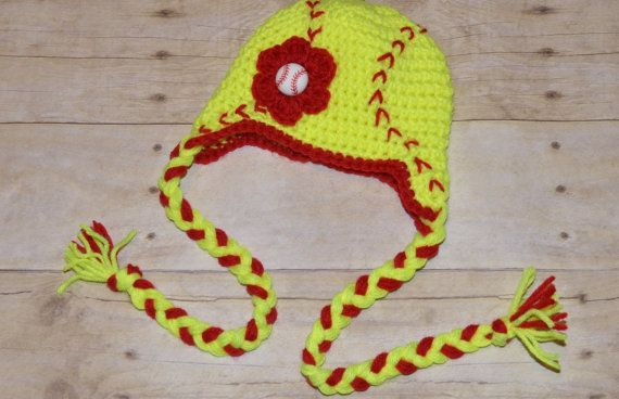 Crochet Softball Earflap Hat with Braids for by sallyscrafts1