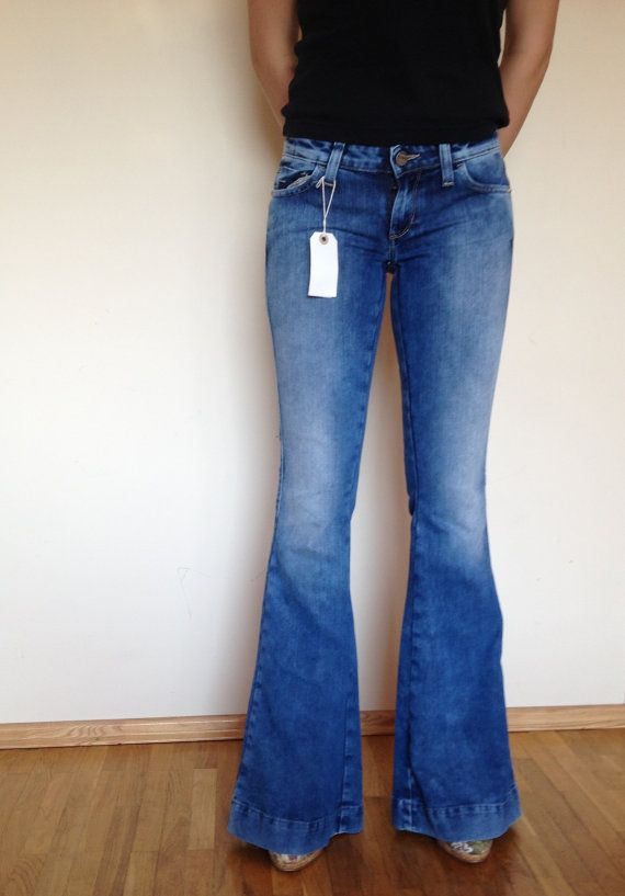 bright blue womens flare jeans