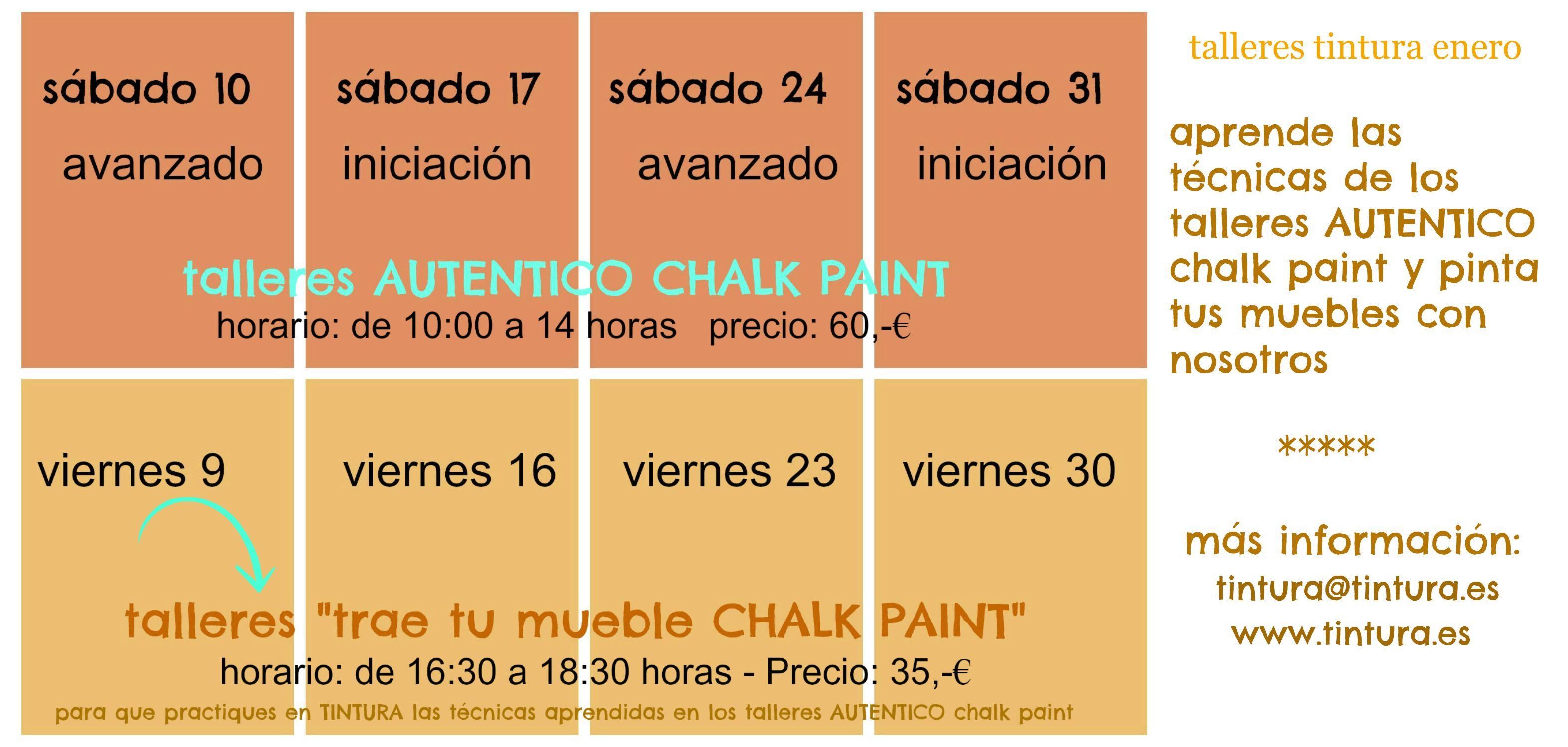 Nuevos #tallereschalkpaint. Ahora puedes poner en práctica todo lo que has aprendido en el taller de iniciación y en el taller avanzado de AUTENTICO Chalk Paint en compañía!