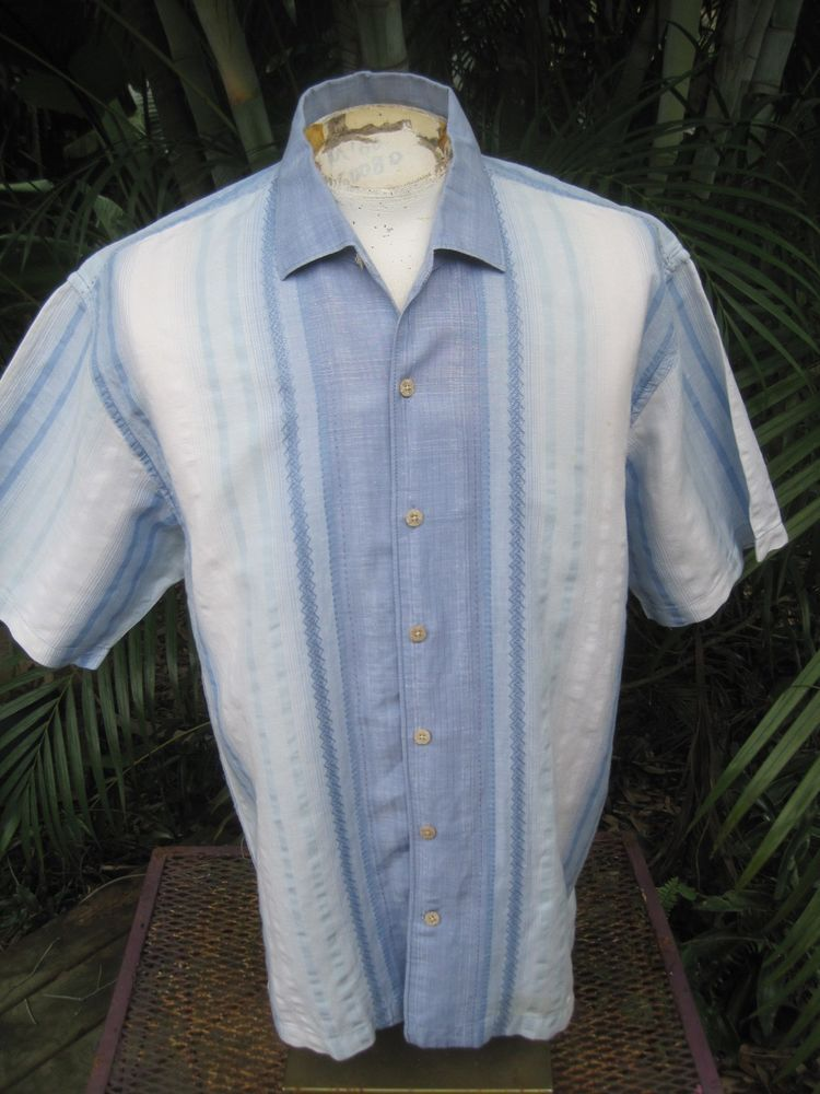 Mens Shirt STRIPED XL Pit to Pit 25 TOMMY BAHAMA linen cotton embroidered blue #TommyBahama #ButtonFront