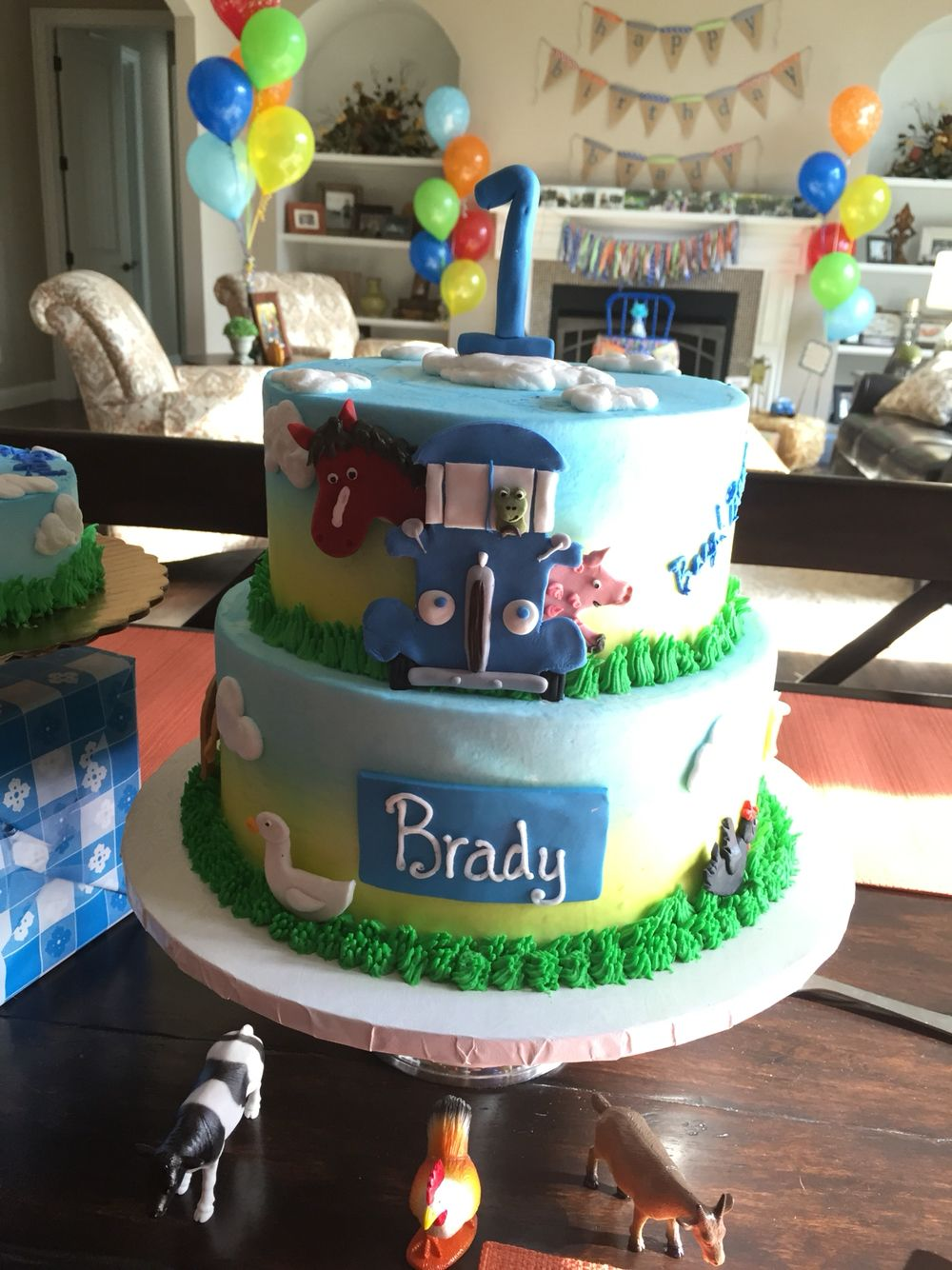 Little Blue Truck Theme First Birthday Cake With Images First