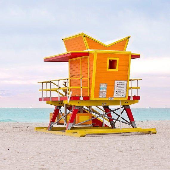 Orange Beach Hut Lifeguard Stand Tower Coastal Ocean Wall Art