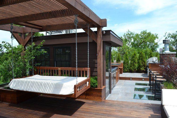brise vue terrasse pergola en bois massif balancelle assortie et sol en bois composite - Brise Vue Terrasse Bois